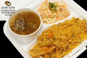 Arroz con pollo y sopa de lenteja - Cometelo Gourmet