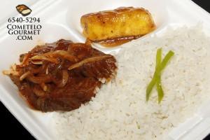Bistec encebollado y ensalada salpicon - Cometelo Gourmet