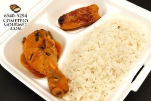 Pollo guisado muslo y arroz blanco - Cometelo Gourmet