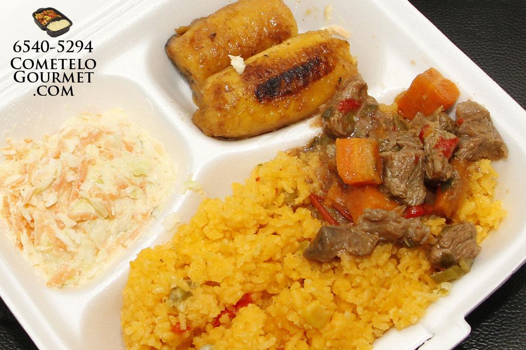 carne guisada y arroz amarillo cometelo gourmet